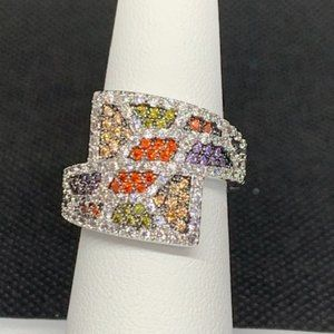 RS Covenant Rhodium Plated Clear & Multi CZ Ring 7